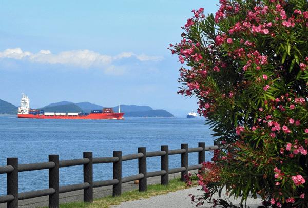 大型旅客 貨物船など凪の瀬戸内海を北上す・・